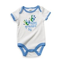 Cutie Pie® Happy 1st Mother's Day with Hand Prints White/Blue Bodysuit