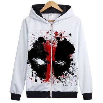 New Deadpool Thin Fleece Zip Up Hoodie Men's Coat Free Shipping Wade Wilson movie graffiti design deadpool hoody