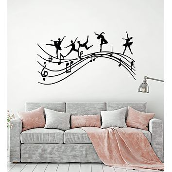 Vinyl Wall Decal Ballet Studio Dancers Music Notes Melody Ballerina Stickers (2496ig)