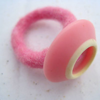 Baby pink felted ring with vintage button by woolpleasure on Etsy