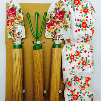 Gardening tools set-3 garden tools and 1 pair of gloves, with painted flowers