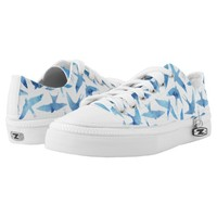 Whimsical Blue Watercolor Birds Pattern Printed Shoes