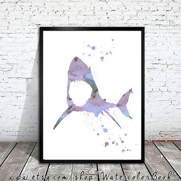 Shark 4 Watercolor Print, shark art, watercolor animal, shark silhouette, animal print, shark print, shark poster,  animal Illustration
