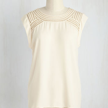 Creative Mixer Top in Parchment | Mod Retro Vintage Short Sleeve Shirts | ModCloth.com
