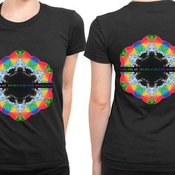 DCCKL83 Coldplay Hymn For The Weekend 2 Sided Womens T Shirt