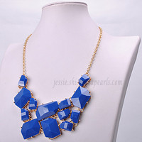 Royal Blue Necklace, Free Form Jewelry, Statement Necklace, Bib Necklace, Chunky Jewelry, Popular Necklace (FN0565-Royal Blue)