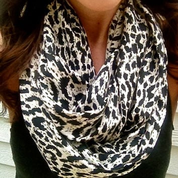 Spotted Fall Scarf- Infinity Scarf with Black and Cream Animal Print