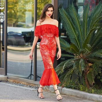Off the shoulder cocktail dress red lace short sleeves mermaid gown lady party formal custom cocktail dresses