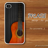 Classic guitar on black wood pattern : Handmade Case for Iphone 4/4s , Iphone 5