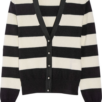 Bouchra Jarrar - Grosgrain-trimmed striped wool-blend cardigan