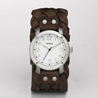 Fossil Woven Leather Dark Brown White Dial Women's watch #JR1290