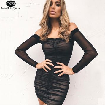 NewAsia Garden Sexy Summer Dress Off Shoulder Bodycon Dress Mesh Women Club Party Dress Long Sleeve Ruched Dresses Mini Vestido