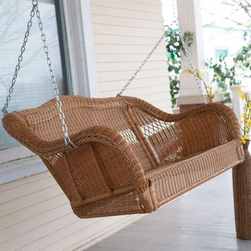 Honey Resin Wicker Porch Swing with Comfort Spring and Hanging Hooks