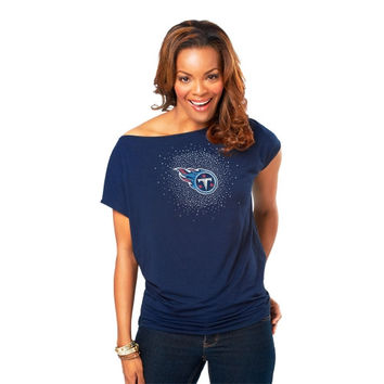 Meesh & Mia Tennessee Titans Women's Off The Shoulder Top - Blue