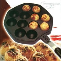 12 Holes Takoyaki Pan Octopus Balls Maker Grill Mold Burning Plate with Handle DIY Kitchen Cooking Tools CT065