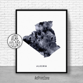 Algeria Print, Watercolor Map, Algeria Map Print, Office Wall Decor, Office Wall Art, Living Room Art, Map Decor, Map Wall Art Print Zone