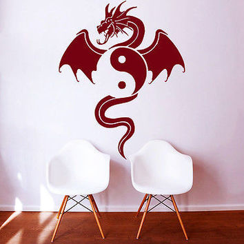 Wall Decals Dragon Animal Yin Yang Symbol Bedroom Vinyl Sticker Decor Art DA399