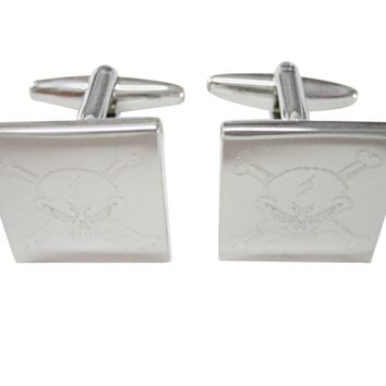 Silver Toned Etched Angry Skull and Crossbones Cufflinks