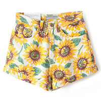 Yellow Sunflower Print High Waist Denim Shorts