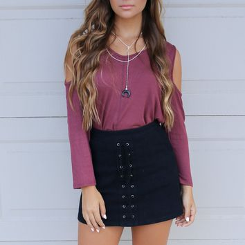 Cherry Creek Red Cold Shoulder Top