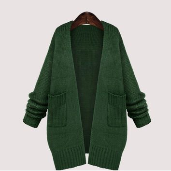 Green Long Women's Kimono Cardigan Autumn Winter Loose Pocket Oversized Shrugs knitted Sweater Coat For Women New Arrival 2016