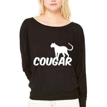 COUGAR WOMEN'S FLOWY LONG SLEEVE OFF SHOULDER TEE