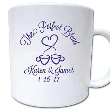 60 Wedding Favors Personalized The Perfect Blend Coffee or Hot Cocoa Mugs Winter Wedding