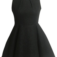 Charming Faux Pearl Deco Pleated A-Line Dress - OASAP.com