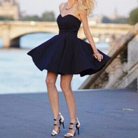 Black Strapless Skater Dress