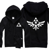Legend of Zelda Triforce Symbol Unisex Full Zipper Cotton Hoodie [8833923020]