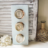 Light Blue Vintage Weather Barometer, Beach Cottage  Weather Station, Humidity Meter, Shabby Chic Baby Blue Wall Decor, Coastal Wall Decor
