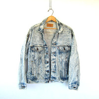 Acid wash Levi's Jean Jacket Vintage slouchy 1980s jean coat / Mens Womens Hipster Grunge oversized jacket size Large