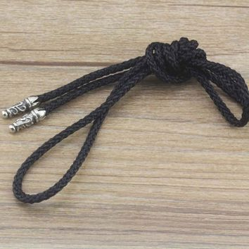 Men 's Sterling Silver Lanyard Leather Cord Necklace Personalized Creative Trend Retro Chain Clavicle Chain Long Rope