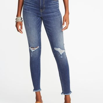 High-Rise Secret-Slim Raw-Edge Rockstar Ankle Jeans for Women | Old Navy