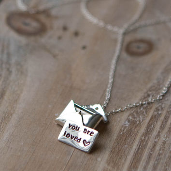 Love Letter Locket Necklace - Sterling Silver Envelope Locket - Personalized Hand Stamped Message - Wedding Anniversary