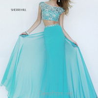 Cap Sleeved Bateau Neckline Formal Prom Gown By Sherri Hill 11197