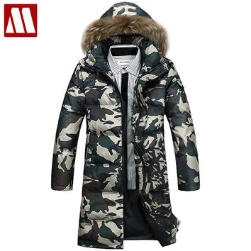 male fashionable casual thickening down coat Camouflage down Jacket Long Winter parka coat for men