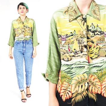 90s Womens Hawaiian Shirt Vacation Scene Print Shirt Tropical Print Shirt Palm Leaves Sequin Blouse Beaded Green Pineapple Print Top (M)