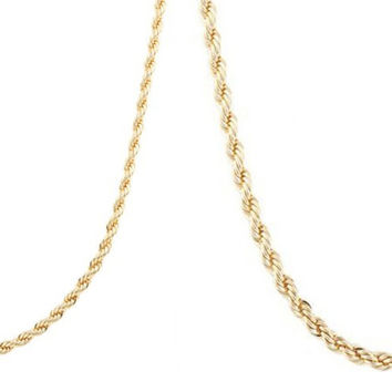 Goldtone 4mm 24 Inch Rope Chain Necklace and a Goldtone 6mm 24 Inch Rope Chain Necklace Set