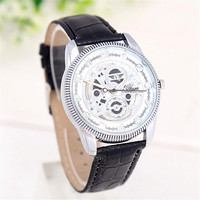 Mens Unique Hollow Out Gear Leather Strap Watch Best Christmas Gift