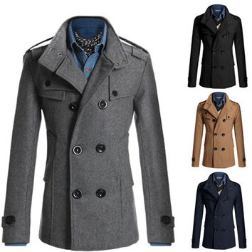 Winter Peacoat Formal Men's Jacket Funnel Neck Double Breasted Wool Bend Coat Windbreaker Long Jacket Military Coats