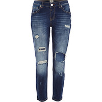 River Island Womens Dark wash ripped Eva girlfriend jeans