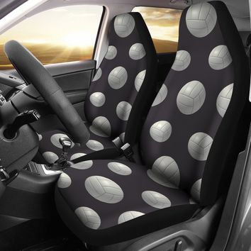 Gray White Volleyball Design Seat Covers