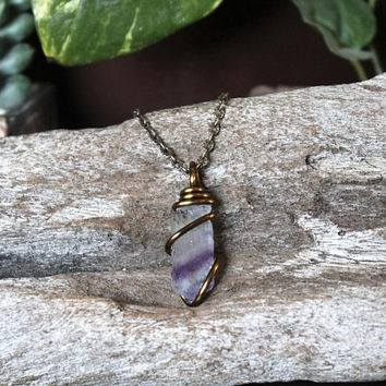 Striped Fluorite Pendant, Purple Crystal Necklace, Wire Wrapped Stone Jewelry, Boho Chic Festival Fashion, Hippie Style