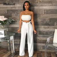Mutevole Women Sexy Two Piece Pants Set Strapless Crop Top and Pants 2 Piece Set Solid Ruffles Wide Leg Trousers 2pcs Outfit Set