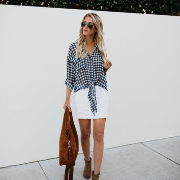 Moonstone Button Down Gingham Tie Top