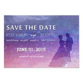 "Wedding under the stars save the date couple dance 3.5"" x 5"" invitation card"
