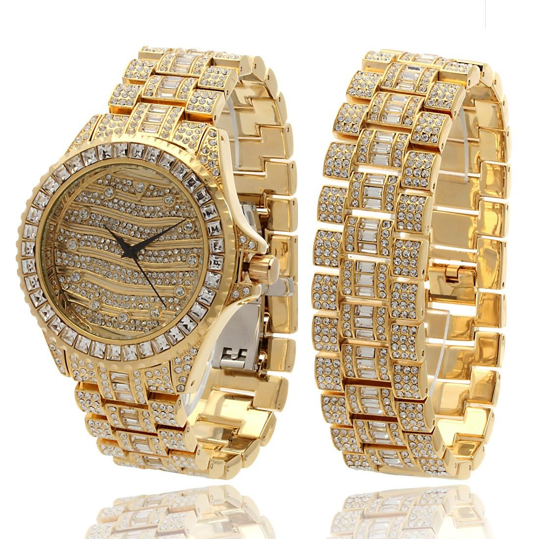band watch numerals detail chain arabic dial watches gold product men cuff wrist