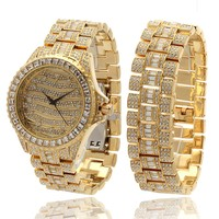 14K Yellow Gold CZ Watch and Rolex Bracelet Set | Hip Hop Watch and Bracelet | King Ice
