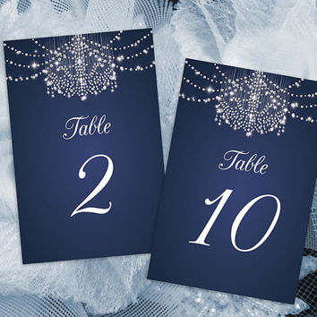 DIY Printable Wedding Table Number Template | Editable MS Word file | 4 x 6 | Instant Download | Diamond Chandelier Navy Blue